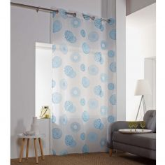 Vega Printed Eyelet Voile Curtain Panel - Sky Blue