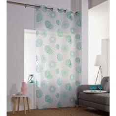 Vega Printed Eyelet Voile Curtain Panel - Mint Blue