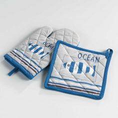 Oceany Nautical Printed Cotton Kitchen Oven Glove & Pot Holder - Blue & Natural