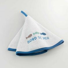 Oceany Nautical Embroidered Round Terry Hand Towel - Blue