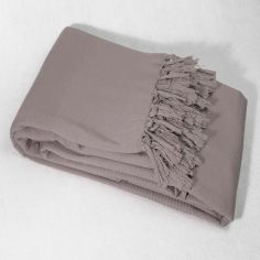 Lana Woven Cotton Throw with Fringe - Taupe