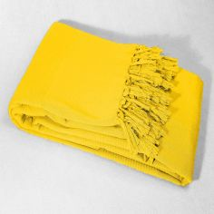 Lana Woven Cotton Throw with Fringe - Yellow