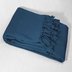 Lana Woven Cotton Throw with Fringe - Indigo Blue