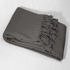 Lana Woven Cotton Throw with Fringe - Charcoal Grey