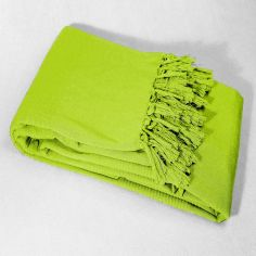 Lana Woven Cotton Throw with Fringe - Lime Green