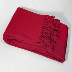 Lana Woven Cotton Throw with Fringe - Red