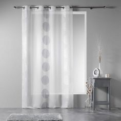 Rondina Eyelet Voile Curtain Panel with Embroidered Circles - White Grey