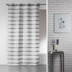 Roxine Striped Eyelet Voile Curtain Panel - Natural