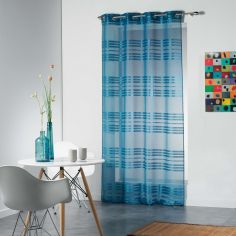 Sacha Striped Eyelet Voile Curtain Panel - Blue