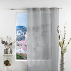 Salina Striped Eyelet Voile Curtain Panel - Grey