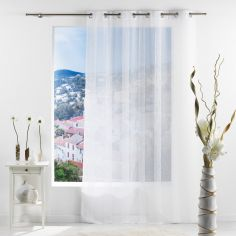 Salina Striped Eyelet Voile Curtain Panel - White