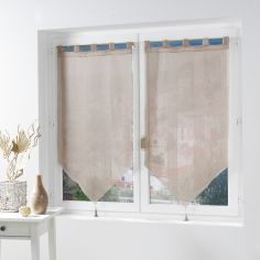 Salina Voile Blind Pair with Tab Top and Tassels - Natural