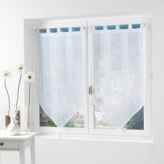 Salina Voile Blind Pair with Tab Top and Tassels - White