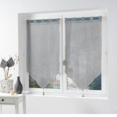 Salina Voile Blind Pair with Tab Top and Tassels - Grey