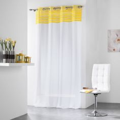 Sally Eyelet Voile Curtain Panel with a Striped Top - Yellow