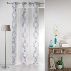 Sandy Striped Eyelet Voile Curtain Panel - Blue