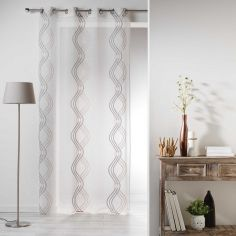 Sandy Striped Eyelet Voile Curtain Panel - Brown