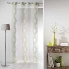 Sandy Striped Eyelet Voile Curtain Panel - Green