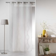 Sandy Striped Eyelet Voile Curtain Panel - Ivory