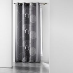 Spirale Printed Eyelet Curtain Panel - Charcoal Grey