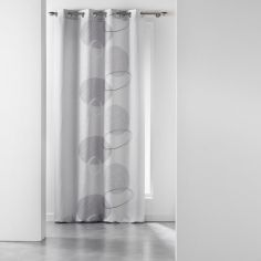 Spirale Printed Eyelet Curtain Panel - Silver Grey