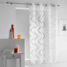 Zappy Wavy Striped Eyelet Voile Curtain Panel - White