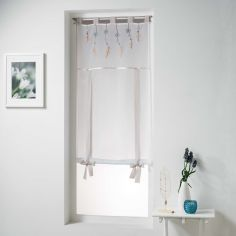 Winona Embroidered Single Voile Blind with Tab Top - Taupe