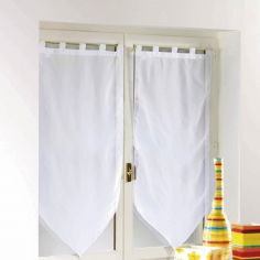 Voiline Plain Voile Tasselled Blind Pair with Tab Top - White