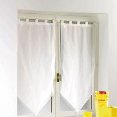 Voiline Plain Voile Tasselled Blind Pair with Tab Top - Ivory