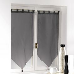 Voiline Plain Voile Tasselled Blind Pair with Tab Top - Black