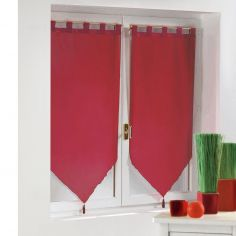 Voiline Plain Voile Tasselled Blind Pair with Tab Top - Red
