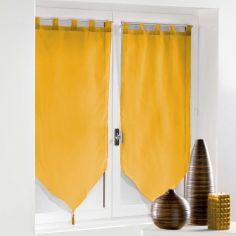 Voiline Plain Voile Tasselled Blind Pair with Tab Top - Yellow