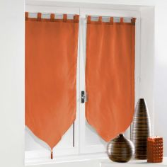 Voiline Plain Voile Tasselled Blind Pair with Tab Top - Brick Orange