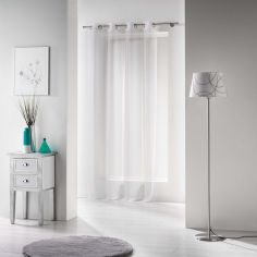 Voiline Plain Voile Curtain Panel with Eyelet Top - White