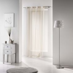Voiline Plain Voile Curtain Panel with Eyelet Top - Ivory