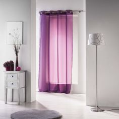 Voiline Plain Voile Curtain Panel with Eyelet Top - Purple