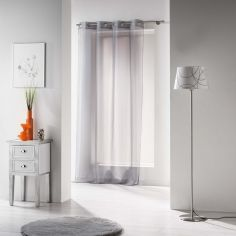 Voiline Plain Voile Curtain Panel with Eyelet Top - Grey
