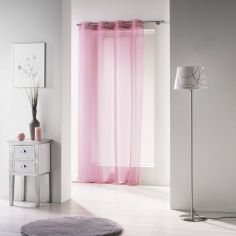 Voiline Plain Voile Curtain Panel with Eyelet Top - Pink