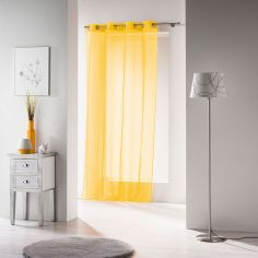 Voiline Plain Voile Curtain Panel with Eyelet Top - Yellow