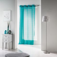 Voiline Plain Voile Curtain Panel with Eyelet Top - Blue