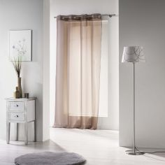 Voiline Plain Voile Curtain Panel with Eyelet Top - Brown