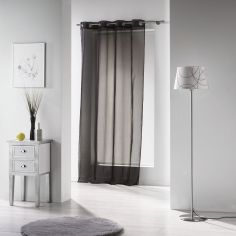 Voiline Plain Voile Curtain Panel with Eyelet Top - Black