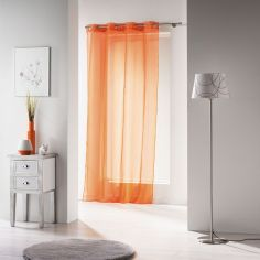 Voiline Plain Voile Curtain Panel with Eyelet Top - Orange
