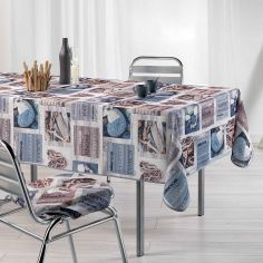 Atlantis Printed Tablecloth - Blue & Natural