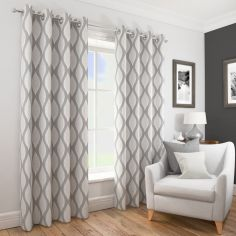Deco Wave Fully Lined Ring Top Curtains - Silver Grey