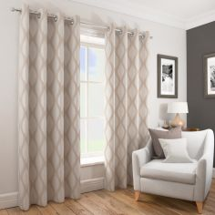 Deco Wave Fully Lined Ring Top Curtains - Natural Beige