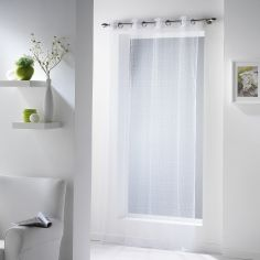 11070 Fine Fishnet Voile Curtain Panel with Eyelets - White