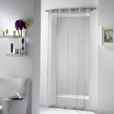 11070 Fine Fishnet Voile Curtain Panel with Eyelets - Silver Grey