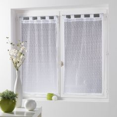 11070 Fine Fishnet Voile Blind Pair with Tab Top - White
