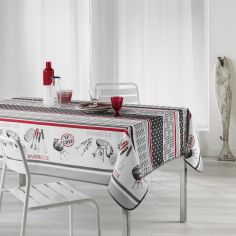 BBQ Printed Tablecloth - Red & Charcoal